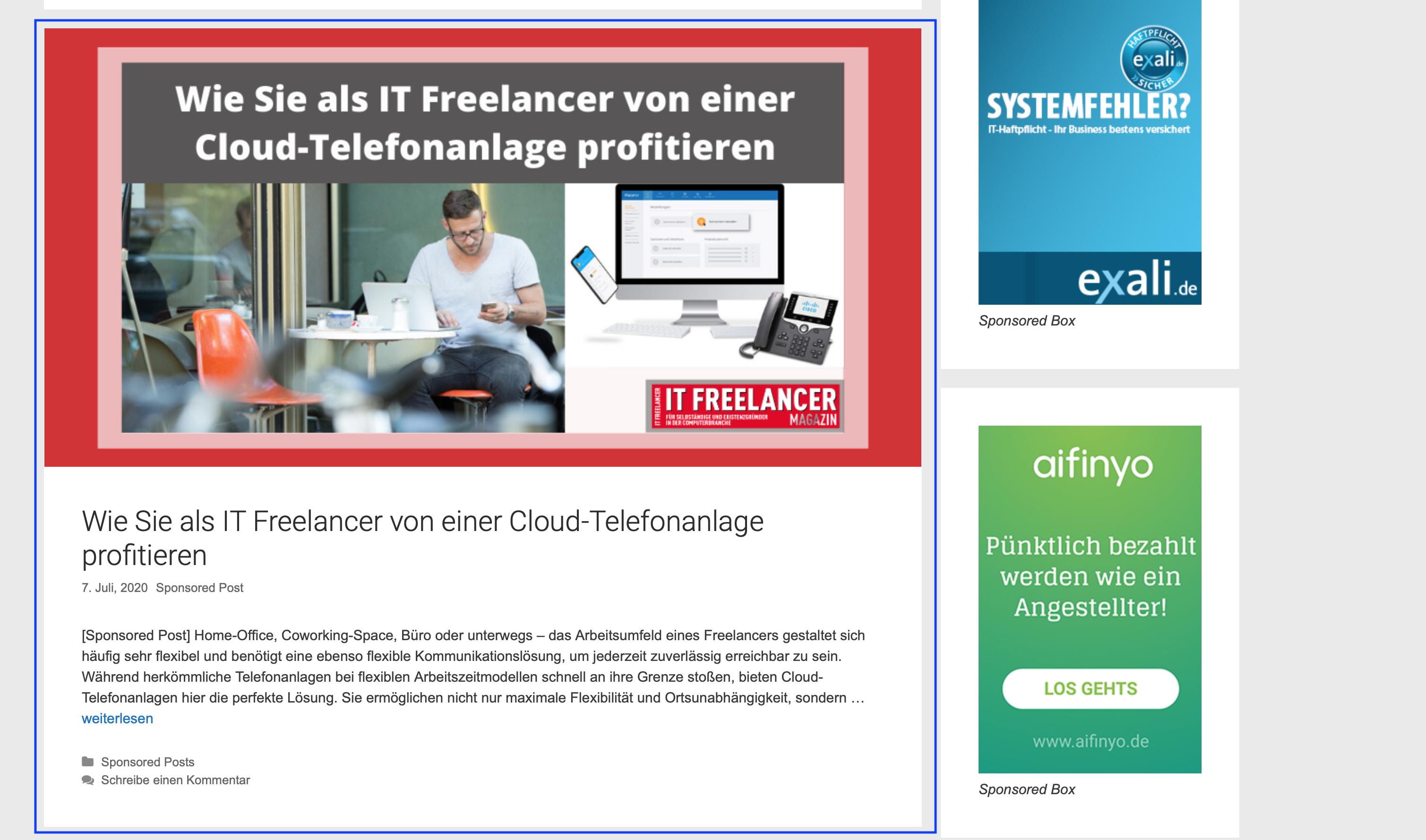 Sponsored Post IT Freelancer Magazin