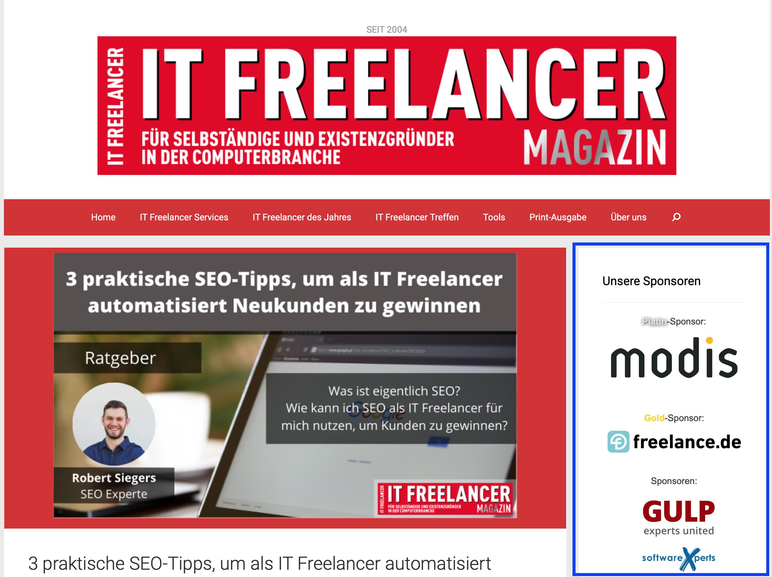 Sponsoring IT Freelancer Magazin